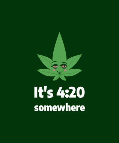 Marijuana T-Shirt Design Template with a Cannabis Clipart 1409d