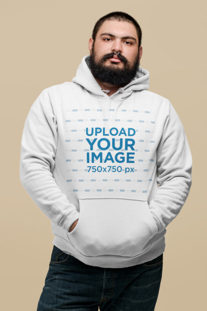 Plus Size Hoodie Mockup of a Man with a Septum Piercing Against a Flat Wall 27758