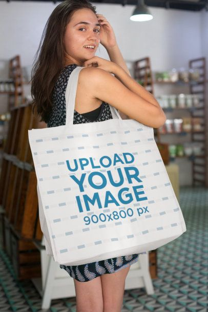 Grocery Bag Mockup Featuring a Woman Inside a Local Store 27622