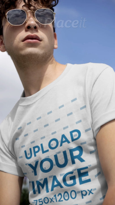T-Shirt Video Featuring a Cool Young Man with Sunglasses 22459