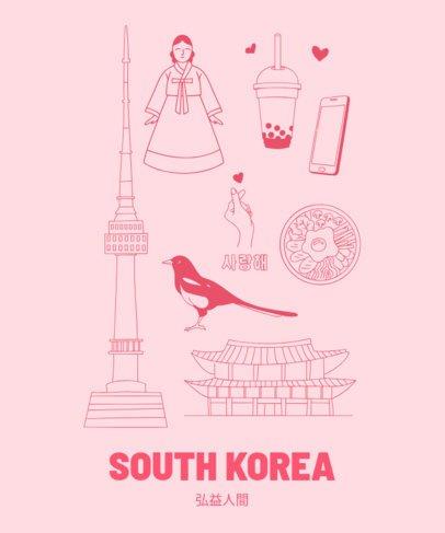 Patriotic South Korean T-Shirt Design Template 1404e