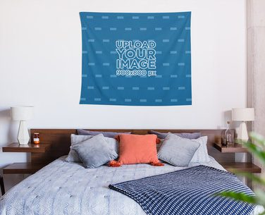 Tapestry Mockup Hanging over a Tidy Queen Size Bed 27393