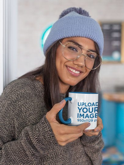 11 oz Colored Rim Mug Mockup Featuring a Woman With a Warm Look 27832