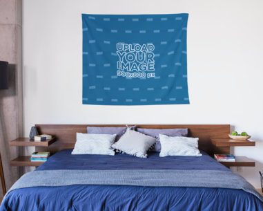 Mockup of a Wall Tapestry Hanging Over a Neat Bed 27396