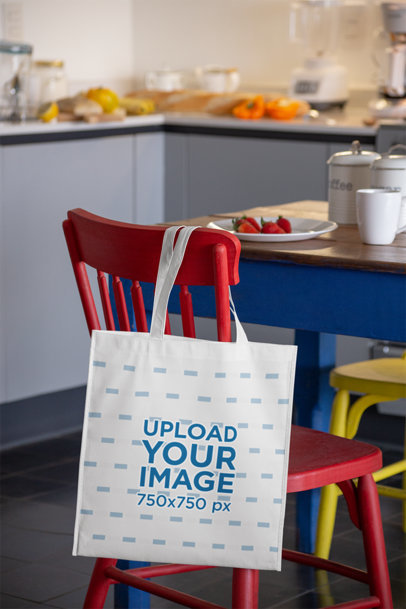 Grocery Bag Mockup Hanging from a Red Chair at a Breakfast Table 27615