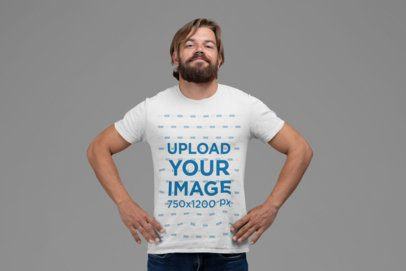 Crew Neck T-Shirt Mockup of a Bearded Man Proudly Posing 27847