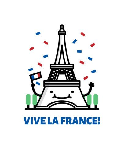 Beautiful Patriotic T-Shirt Design Featuring French Clipart 1407b