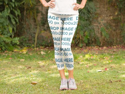 Leggings Mockup of a Woman Standing in a Park a8370