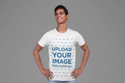 T-Shirt Mockup of a Man Proudly Posing 27856