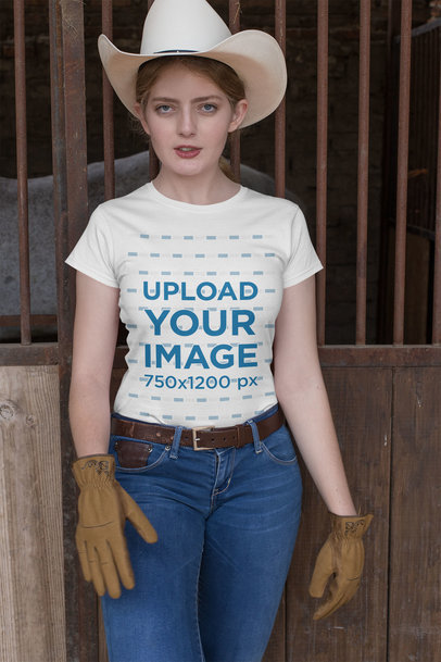 Mockup Featuring a Country Woman Wearing a T-Shirt in a Stable 27966