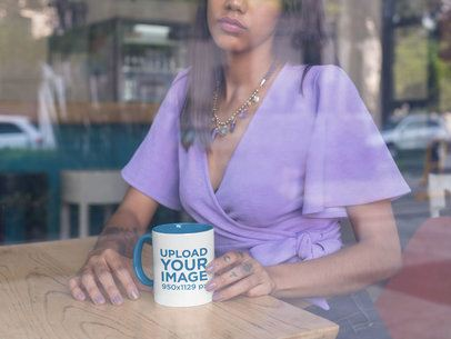 11 oz Inner Rim Color Mug Mockup of a Woman At a Coffee Shop Window 27838