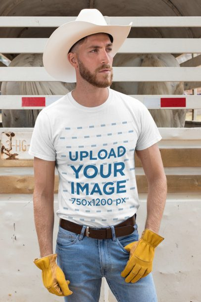 T-Shirt Mockup Featuring a Cowboy Man at a Stable 27972