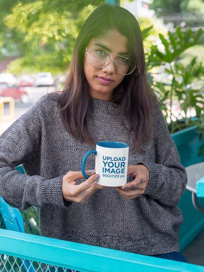 11 oz Color Rim Mug Mockup of a Serious Woman with Vintage Glasses 27844