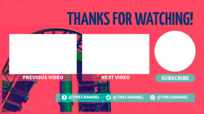 YouTube End Card Template Featuring a Rollercoaster in the Background 1429a