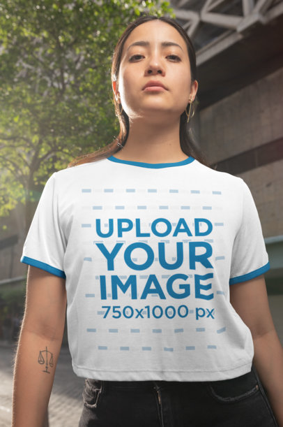 Ringer T-Shirt Mockup of a Serious-Looking Woman 27157