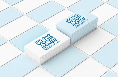 Mockup of Two Business Card Piles Lying Among a Mosaic of Business Cards 41-el