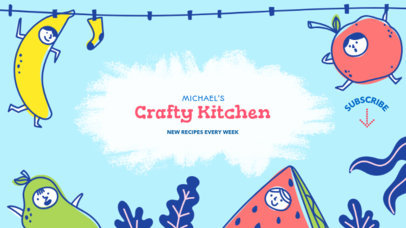 Illustrated YouTube Banner Maker for a Kids Food Channel 415d