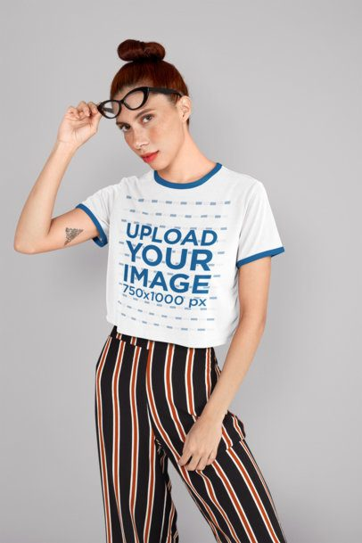 Ringer T-Shirt Mockup of a Woman with Sunglasses at a Studio 27251