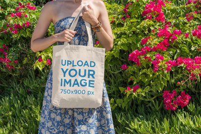 Tote Bag Mockup of a Woman Surrounded by Flowers 18-el