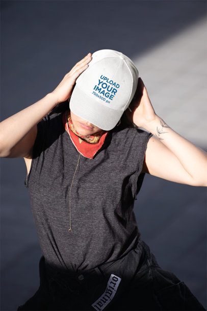 Dad Hat Mockup Featuring a Woman Covering Her Face 27031
