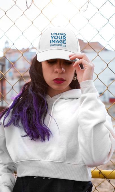 Dad Hat Mockup of a Woman with Purple Hair Looking Down 27107