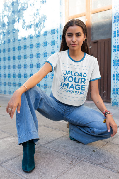 Ringer Tee Crop Top Mockup of a Stylish Woman Posing on the Street 27267
