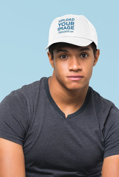 Dad Hat Mockup of a Young Man Against a Plain Background 27045