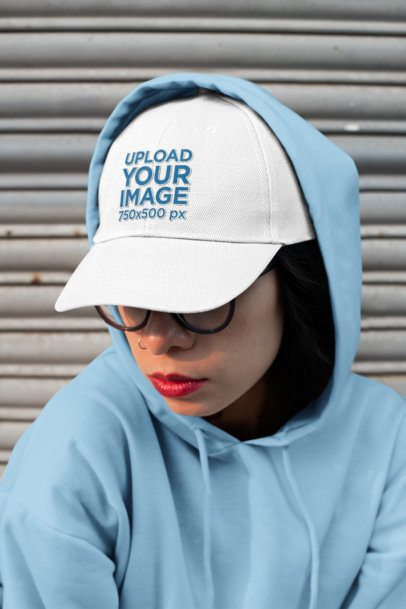Dad Hat Mockup of Woman with a Nose Piercing Wearing Red Lipstick 27104