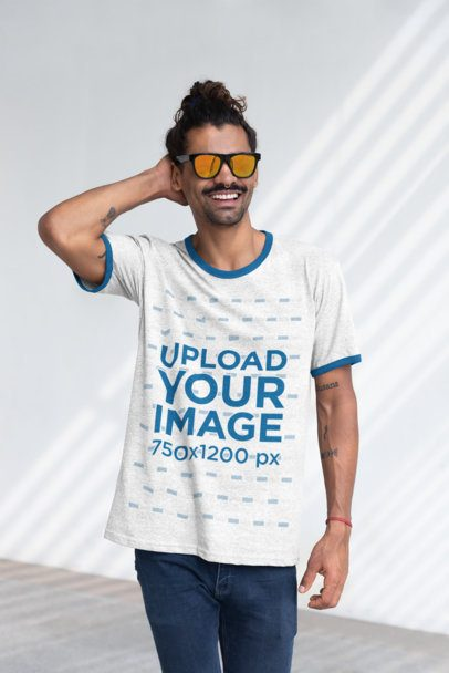 Heather Ringer T-Shirt Mockup of a Cool Man with Sunglasses 27904