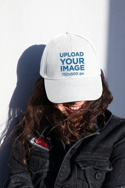 Dad Hat Mockup of a Woman With a Patched Denim Jacket 27033
