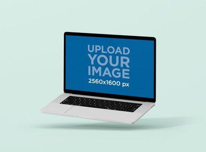 Minimalistic MacBook Pro Mockup Floating Against a Solid Color Backdrop 63-el