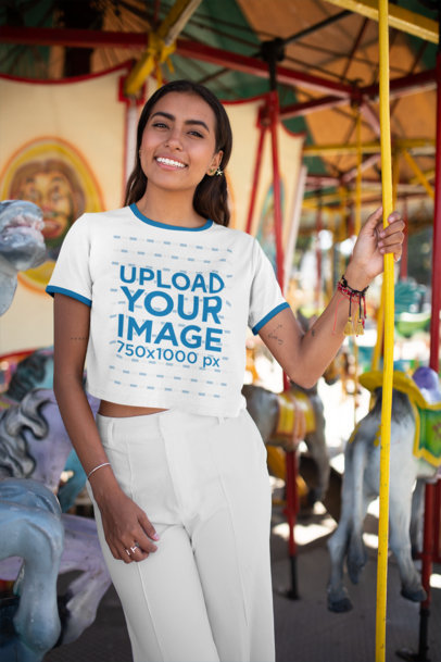 Ringer T-Shirt Mockup of a Woman Standing in a Carousel 27277