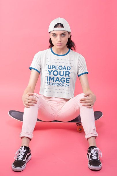 Ringer Tee Crop Top Mockup of a Woman Sitting on a Skateboard 27185