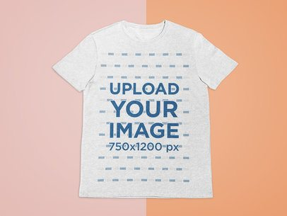 T-Shirt Mockup Lying Against a Minimalist Bicolored Surface 27679