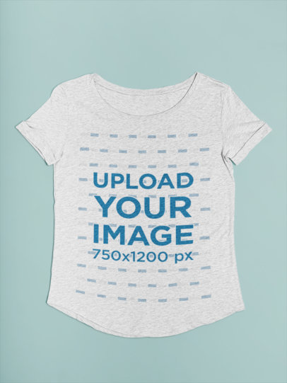 Women's Heather T-Shirt Mockup with a Simple Solid Color Background 27668