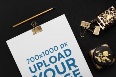 A4 Letterhead Mockup Featuring Golden Office Supplies 22719
