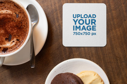 Mockup of a Square Coaster on a Wooden Table Surrounded by Food 27806