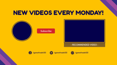 Minimalist YouTube End Card Generator with a Striped Corner Frame 1431c