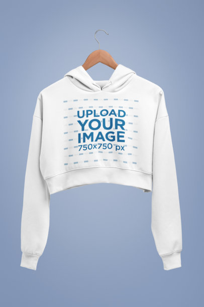 Mockup of a Cropped Hoodie Against a Solid Background 27730