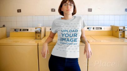 T-Shirt Video of a Woman Posing at a Laundry 12966