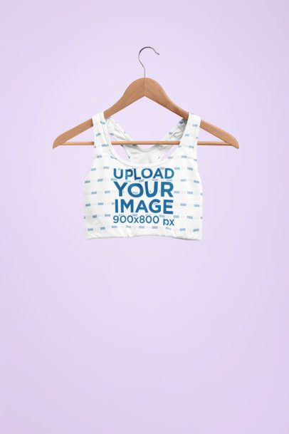 Mockup of Sports Bra Hanging Against a Flat Wall 27736