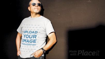 T-Shirt Video Featuring a Mature Man Wearing Sun Glasses 12750