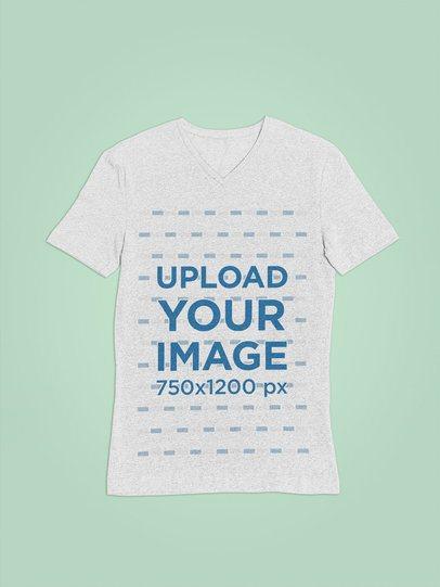 Simple V-Neck Heathered T-Shirt Mockup on a Flat Lay 27680