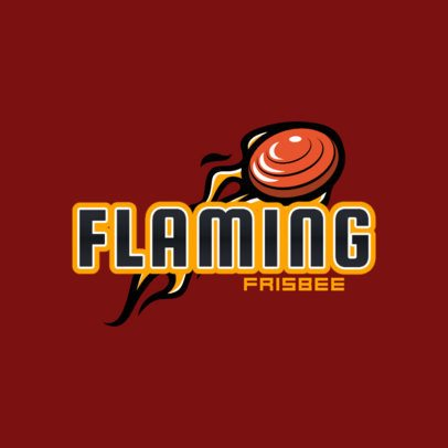 Sports Logo Template Featuring a Flaming Frisbee Graphic 2225c