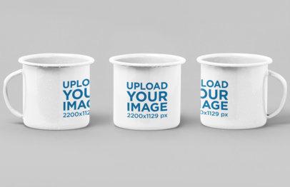 Mockup of Three 12 oz Enamel Mugs 27881