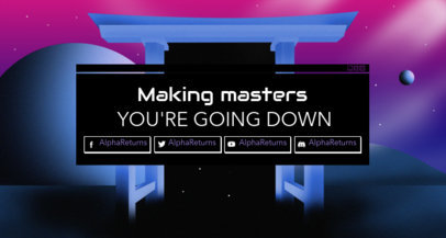 Twitch Banner Template with a Retrowave Great Torii Graphic 1503a