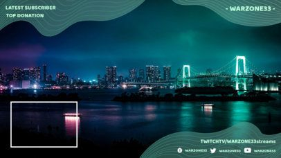 Twitch Overlay Maker with a Webcam Window Featuring a Night Skyline 1244d