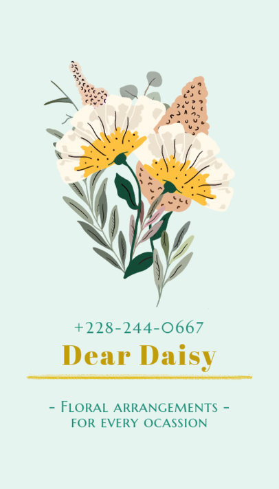 Vertical Business Card Template with a Floral Design 568c