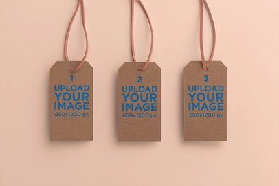 Mockup of Three Hanging Brand Tags with a Plain Background 27651