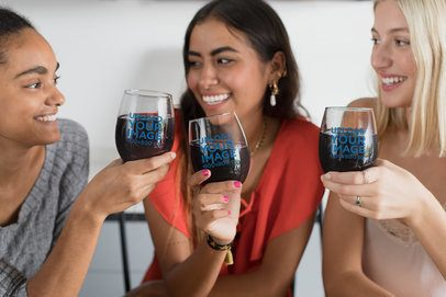 Mockup of Three Girl Friends Holding Stemless Wine Glasses 27943